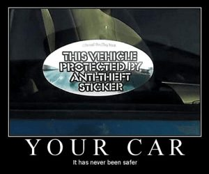 Anti-Diebstahl Aufkleber für Auto