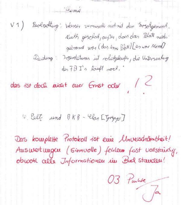 Protokoll eines Chemie-Versuchs - Blatt ermordet