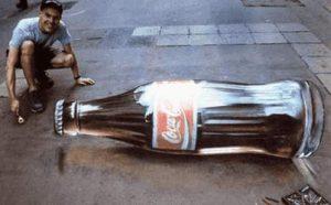Pflastermalerei - Coca Cola Flasche