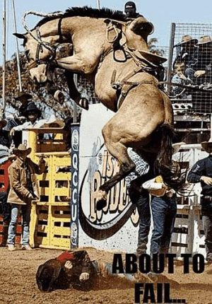Rodeo - Cowboy unter dem Pferd