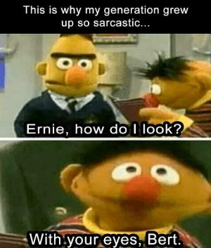 Ernie, how do I look? - With your eyes, Bert!
