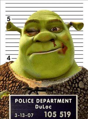 Fotomontage: Fahndungsfoto von Shrek
