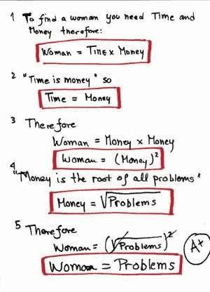 Mathematischer Beweis: Frauen & Probleme sind identisch