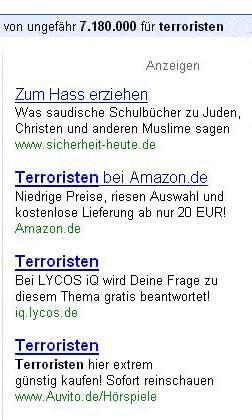Google Anzeigen - Terroristen