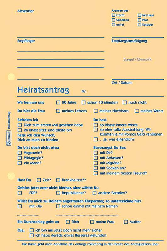 Lustiges Formular für einen Heiratsantrag