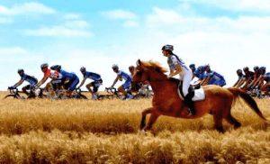 Radrennen mit einem Pferd