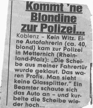 Kommt eine Blondine zur Polizei