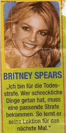 Britney Spears: für die Todesstrafe