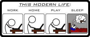 Modernes Leben: Arbeit, zu Hause, Spielen, Schlafen ...