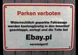 Parken verboten: Einzelteile werden bei EBay versteigert