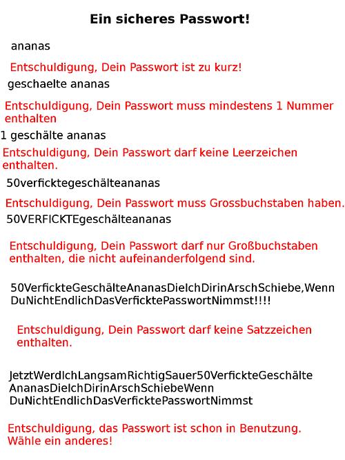 Sicheres Passwort: zu kurz; zu lang; schon in Benutzung