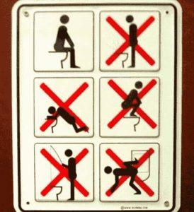 Anleitung um auf der Toilette zu sitzen