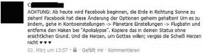 Web Fails - FaceBook - Einstellungen um Apokalypse zu verhindern